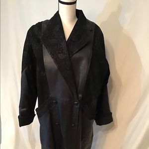 Wilsons Black Full Length Leather Suede Coat